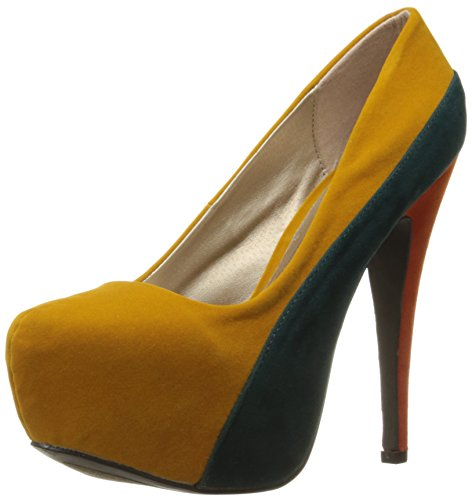 Qupid Women's High Heel Pump Heeled Stilettos Platform Closed Pointed-Toe Wedding Shoes Mid Heels Bridal Bridesmaid Ceremony Evening Prom Party Round Toe Stiletto Penelope-44x Mustard 7