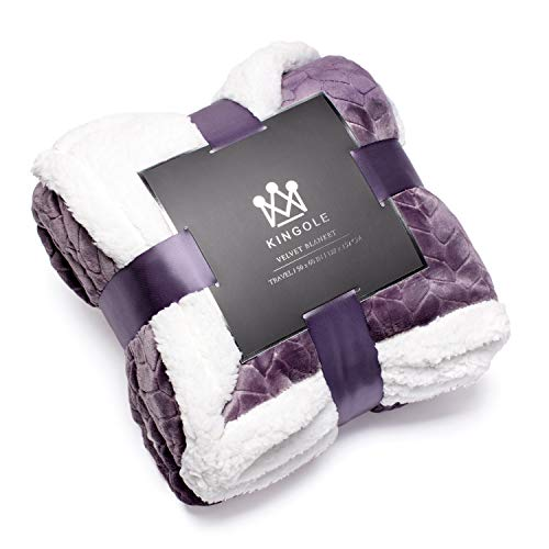 Kingole Double-Layer Reversible Luxury Sherpa Blanket, Lavender Purple Throw Size Extra Warm Super Soft Cozy Plush for Couch/Bed Microfiber 580GSM (50 x 60 inches)