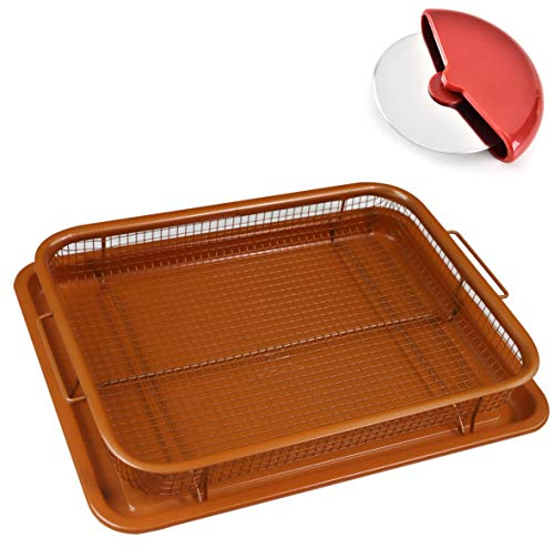 Deluxe Copper Crisper - 2-Pieces Nonstick Oven Air Fryer Pan/Tray & Mesh Basket Set - Air Fryer in Oven - Ideal for French Fry - Frozen Food, Baking Sheet without Oil - Bonus Pizza Cutter - WHG