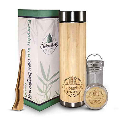 Bamboo Tumbler with Tea Infuser and Strainer by CHABAMBOO | 17oz Coffee and Tea Bottle | Vacuum Insulated Travel Tea Mug To Go | Tea Thermos and Tea Gift | with Loose Leaf Tea Steeper and Diffuser