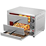 Mryitcal Pizza Oven Ovens Electric Countertop Home Commercial Pizza and Snack Oven Stainless Steel for 12-Inch Pizza Bread Pies Appetizers Quesadillas and Pastries (110V, 2100W)