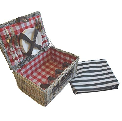 CREOFANT Picknickkorb für 4 Personen · Piknikset · Weidenkorb mit Picknickdecke · 22 teiliges Picknick-Set mit Geschirr · Picknickkoffer Set mit Decke (Natur Karo Rot)