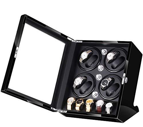 JIANBO Uhrenbeweger Günstig Fur Automatikuhren 8+5 Uhren,Watch Winder Box Für Rolex Automatikuhren/Uhrenkasten Uhrenbox/Uhrendreher/Uhren Box,Black+Black