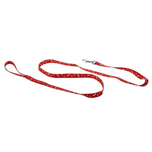 Naliovker Polyester Knochen Druck Muster Haustier Hundeleine - Rot