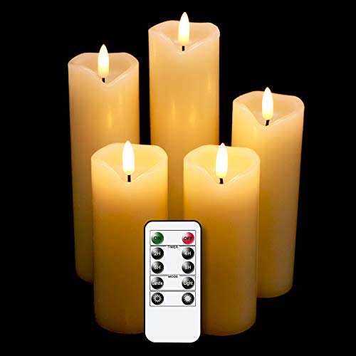 Eldnacele Flameless Flickering Candles with Remote Timer, 3D Wick Real Wax...