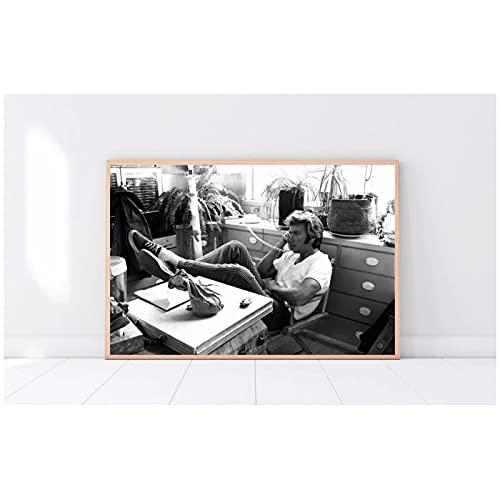 WSTDSM Arte de la Pared Clint Eastwood Phone Black White Canvas Print Posters Pintura Imagen Decoración para el hogar Sala de Estar Obra de Arte Moderna -20x28 Pulgadas x1 Sin Marco