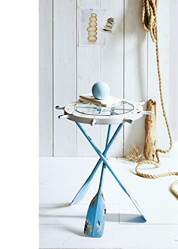 Pureday Beistelltisch Maritim Shabby Chic Metall weiß/blau ca. 60 cm hoch