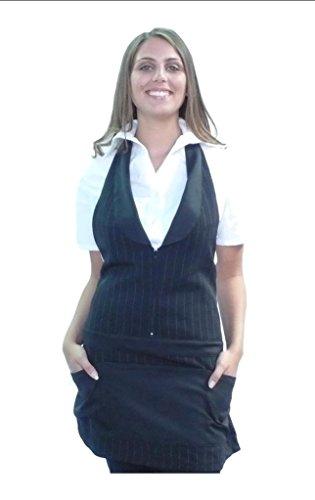 tessile astorino Bordado gratuito – Delantal de trabajo unisex – Uniforme para camarero, baranista, pub, bar, restaurante – Fabricado en Italia Nero Gessato Talla única