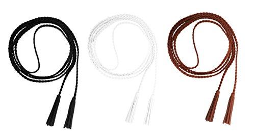 Nanxson Damen Mädchen Dekorative Gestrickte Lederbauchkette Geflochtene Gürtel mit Troddel (schwarz weiß tan