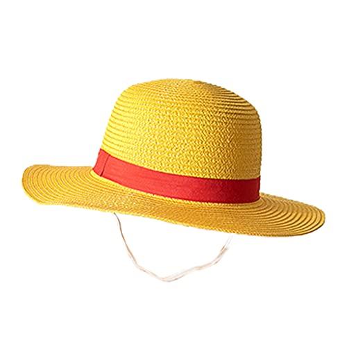 XuHang - Sombrero de sol japonés anime pirata de paja tejida para verano, protector solar de ala ancha y rendimiento para playa, accesorios de disfraz para senderismo al aire libre