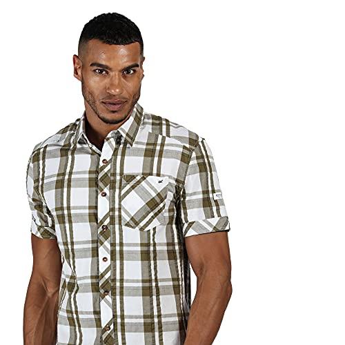 Regatta Chemise Manches Courtes à Carreaux Deakin III 100% Coton avec Poche Poitrine Shirts Homme, White/Camo Green, FR : L (Taille Fabricant : L)