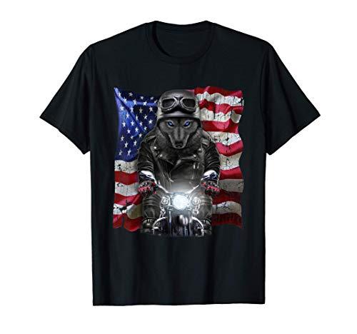 Lobo patriota en motocicleta con bandera de Estados Unidos Camiseta