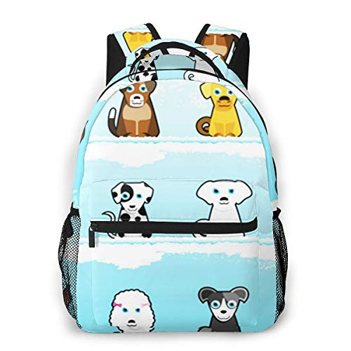 Rucksack Freizeit und Ausflüge Damen Herren Mädchen, Campus Kinderrucksack, Daypack Tagesrucksack für Schule, Sportrucksack, Tablet Tasche Hündchen-Hundefamilie