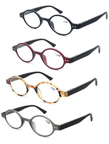 MODFANS (4 Pack) Lesebrille 2.5 Rund Damen,Gute Brillen,Hochwertig,Mode,Komfortabel,Super Lesehilfe,fur Frauen