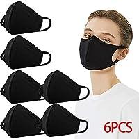 Pasamontañas para proteger la boca, 100% algodón, antipolvo, PM2.5 con filtro de bolsillo, protección facial, 2 capas, unisex, reutilizables, lavables, 6 unidades, color negro