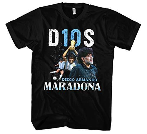 Diego Maradona T-Shirt | Maradona Trikot Shirt Argentinien Trikot Herren Tshirt (S, Schwarz)