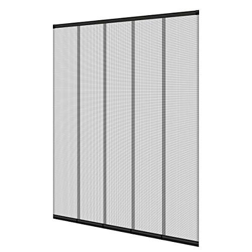 ECD Germany Insektenschutz - 125 x 240 cm - Schwarz - Polyester - Lamellenvorhang Türvorhang Fliegengitter für Türen