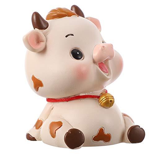 Amosfun Mini Kuh Figur Weihnachten Miniatur Ornamente Dekofigur Feng Shui Statue Tortenfigur Tierfiguren Wohnzimmer Skulptur für 2021 Silvester Tischdeko Auto Feengarten Deko Ochse Neujahr Geschenke