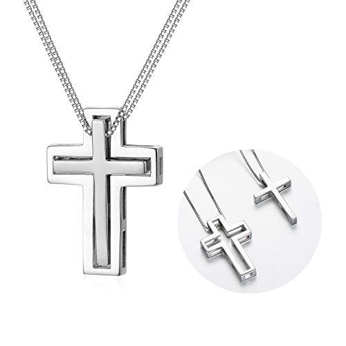 Silber Matching Lovers Halskette Paar Halskette für Mann Frauen 925 Kreuz Anhänger Beste Freunde Familienmitglied Schmuck Geschenk zum Geburtstag Jubiläum