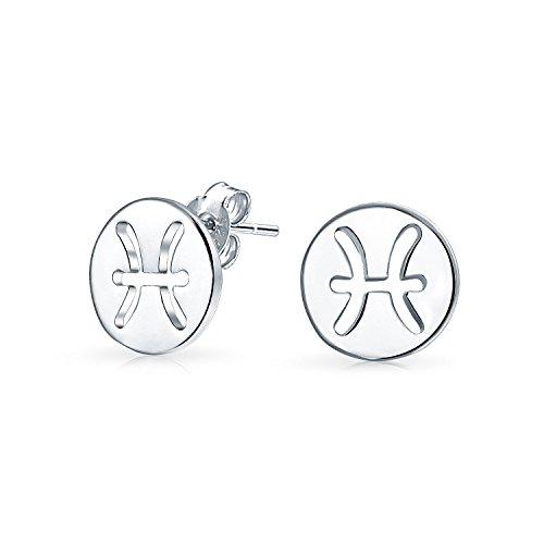 Tiny Simple Round Astrology Pisces Horóscopo Zodíaco Pendientes para Adolescente Para Mujeres Plata esterlina 12 Meses de Nacimiento Signo
