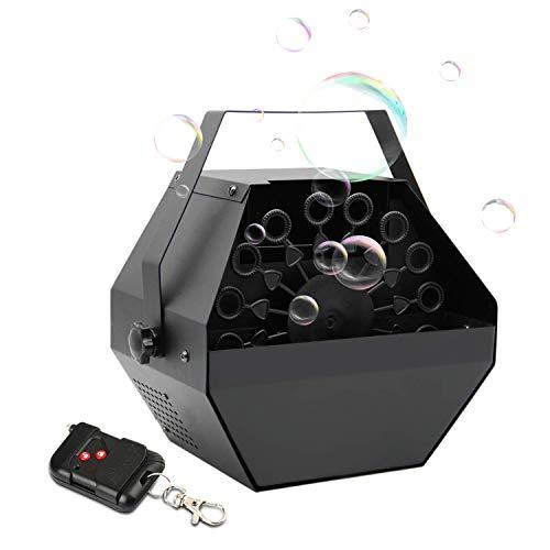 Máquina Burbujas Portátil,UKing Automatic Máquina Burbujas con Control Remoto y Alto Rendimiento para Fiestas de Cumpleaños, Bodas, Conciertos, Escenarios, Galas (Negro)