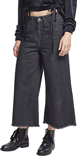 Urban Classics Damen Ladies Denim Culotte Hose, Schwarz (Black Washed 00709), W31 (Herstellergröße: XXL)