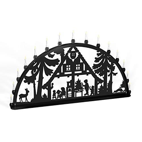 Colours-Manufaktur Außenschwibbogen Schwibbogen Lichterbogen Metall - Motiv: Waldhaus - XL 1 Meter Breite Außen-Bereich schwarz glänzend * groß * Erzgebirge Weihnachten Kinder