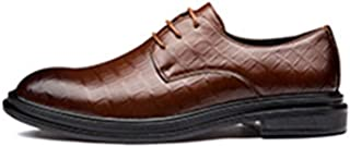 XinQuan Wang Business Oxford for Men Formal Shoes Lace Up Style Microfiber Leather Anti Slip Block Heel Split Joint Waxy Shoelaces Pointed Toe Party Plaid (Color : Brown, Size : 7 UK)