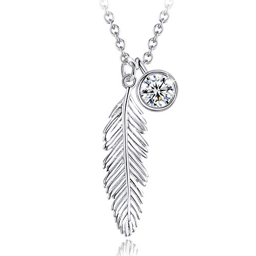 GOXO 925 Sterling Silver 18' long Feather Pendant Necklace ,Dainty CZ Simple Chain Necklaces for Women with gift box