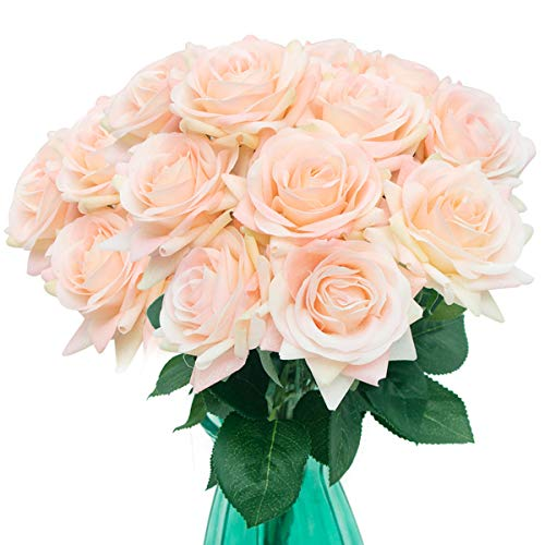N/P 12 Artificial Flowers Realistic Silk Flower Bouquet Used for Wedding Party Holiday and Family Park Hotel Decoration (Champagne)