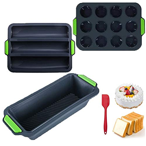Depruies Silicone Baking Tray Moulds Set of 4 a Must for Every Kitchen !!!Silicone breadboard  Non-Stick Box Shape, Bread Form as a Cake Mold  Oven Microwave Washable (Color : Beige, Size : D)