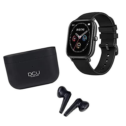 DCU TECNOLOGIC   Pack Smartwatch Reloj Inteligente + Auriculares Bleutooth 5.0   Earbuds con Microfóno   Pulsera de Actividad IP67   Ultrligeros   Control Táctil   Negro