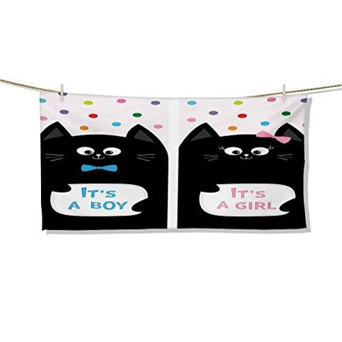 Toallas de Playa y Manta Giant Its A Boy Tarjetas con Gatos Little Baby Cute Kitty Lunares Juegos de Estampados Divertidos Toallas de baño Toallas de Mano sin Arena