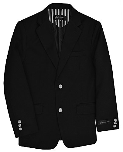 Johnnie Lene Dress Up Boys' Black Blazer Jacket #JL30 (12, Black)