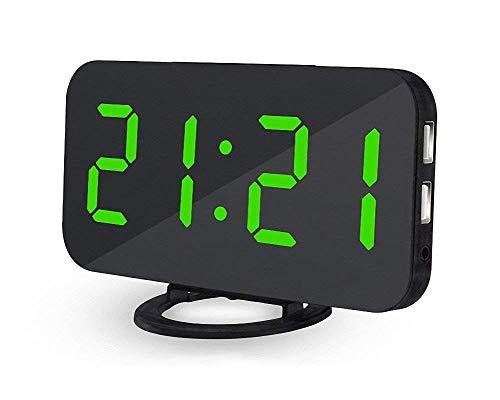 Deerbird® Digitale Sveglia Superficie dello Specchio Enorme Numeri LED Sveglia con 2 Porta USB...