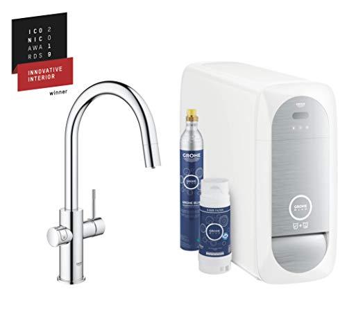 GROHE Blue Home | Küche - Spültischarmatur mit FILTERFUNKTION und WiFi | C-Auslauf Starter Kit | 31541000