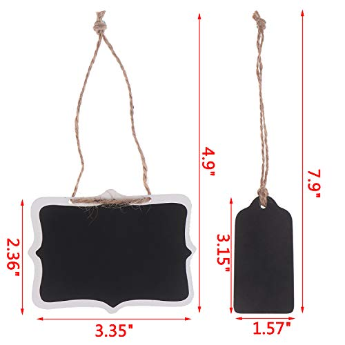Xgood 40 Pieces Mini Chalkboards Tags Erasable Mini Blackboard Wooden Hanging Chalkboard Double Sided Chalkboard Signs Hanging Chalkboard Labels with Hanging String for Message Board Signs Kids DIY Photo #2