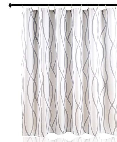 Biscaynebay Texturierter Duschvorhang, bedruckt, tanzende Badezimmer-Gardinen, Silbergrau, 182,9 cm Breite x 213,4 cm Länge