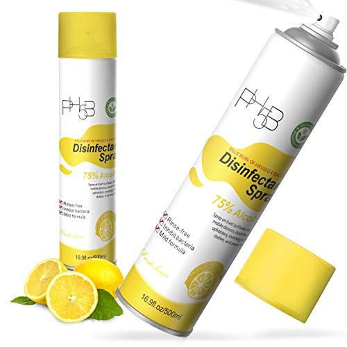 PH5B Disinfectant Spray Fresh Lemon Scent- 75% Ethyl Alcohol 16.9oz/ 500ml (2 Pack)