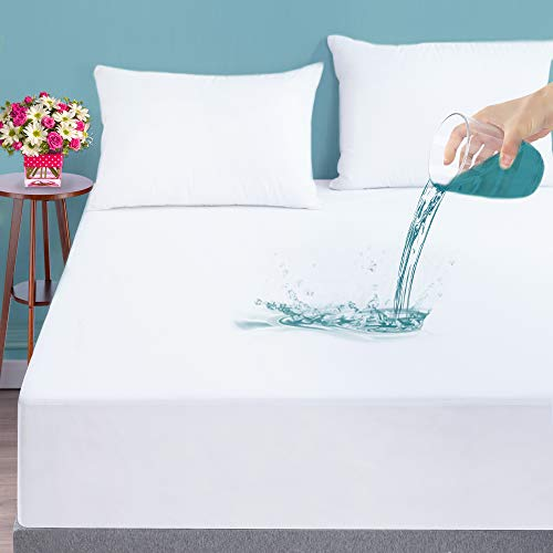 """LUNSING 2 Pack Twin Size Waterproof Mattress Protector, Mattress Cover for Twin Size Bed, Breathable Soft and Fitted Mattress Protector with Deep Pocket Fitting 6""""-16"""" Mattress, White"""