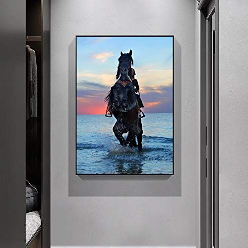 XLXZZ Póster de Lienzo de Caballo Animal Mujer Montando un Caballo en el Agua Puesta de Sol Cielo Colorido Arte de Pared Impresiones de imágenes decoración del hogar-50x70cmx1 pcs sin Marco