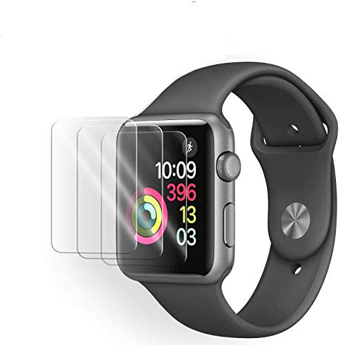 Latch Compatible Watch 38mm Tempered Glass Screen Protector (Series 3 2 1) [9H Hardness] [Anti-Fingerprint] [Bubble Free] [Only Covers The Flat Area] Compatible Apple 38mm [3-Pack] Protectors Screen Smartwatch Subjects