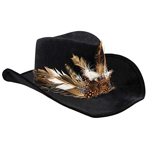 Cappello Voodoo Bakulu con decorazioni piume, nero