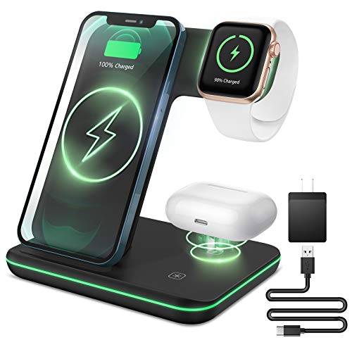 Liwin Wireless Charger, 3 in 1 Qi-Certified 15W Fast Charging Station Compatible with Apple Watch SE 6 5 4 3 2, AirPods Pro 2, iPhone 12/11/11 Pro/8/X, Compatible with Samsung S21 S10 S9 S8, Black