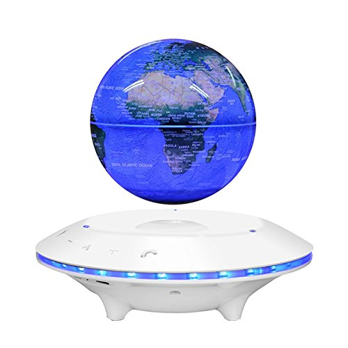 LUOER Maglev Levitating Floating BT Speaker Globe Shape Wireless Lamp Adjustment Home Decor,White,6Inch