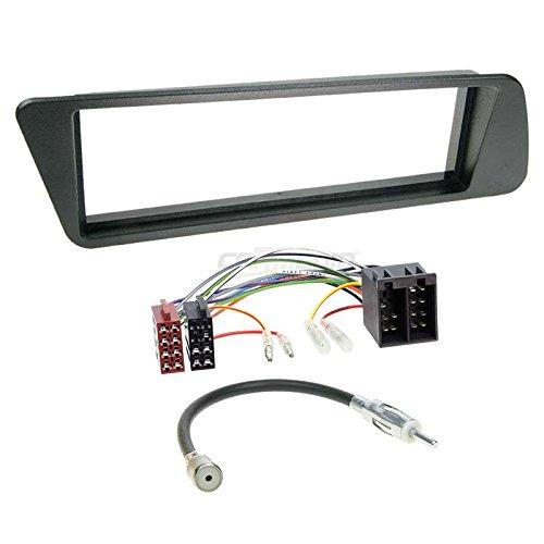 Carmedio Peugeot 306 93-01 1-DIN Autoradio Einbauset in original Plug&Play Qualität mit Antennenadapter Radioanschlusskabel Zubehör und Radioblende Einbaurahmen schwarz
