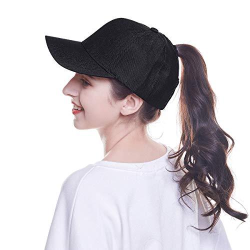 WELROG Dame Baseball Kappe Hip-Hop-Hut Verstellbar Baumwolle Pferdeschwanz Cap (Schwarz #3)