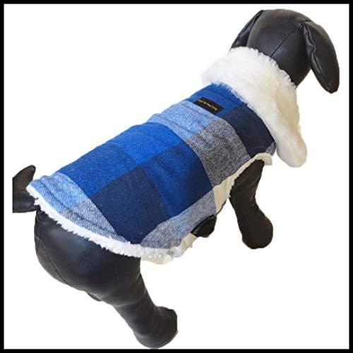 Zap Impex blauw wit check hond jas bontkraag kleding voor honden, 3XL
