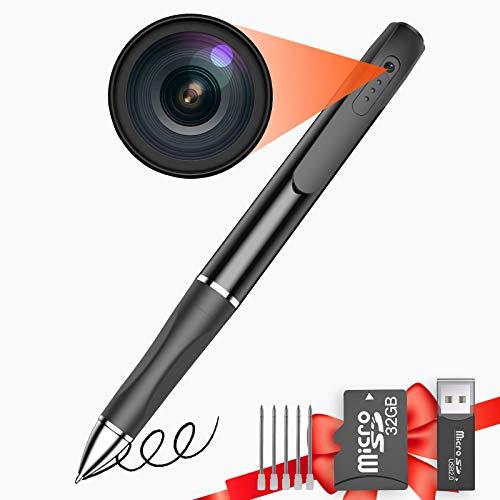 Buloge Hidden Mini Spy Recording Pen Camera Built-in SD Card 32gb,Micro Cop Cam,Tiny Secret Wireless Body Camera,Small Spy Microphone Cameras with HD 1080P ,Camaras Espias,Spy Cams Gadgets Equipment