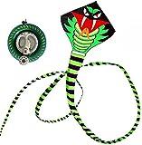 LIOYUHGTFY Cometa Infantil Juegos Al Aire Cometas para niños, pequeña Cometa de Serpiente Verde de simulación Creativa, Juguete Volador aéreo portátil al Aire Libre, Juegos de Fiesta Familiar 730